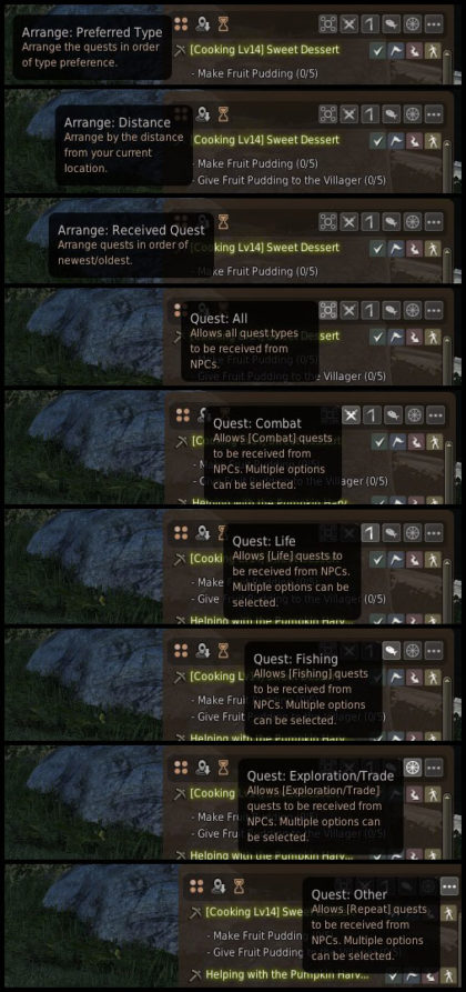 You have the option to arrange your list of quests and choose which quests you see