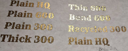 Testing different results for DIY gold foiling