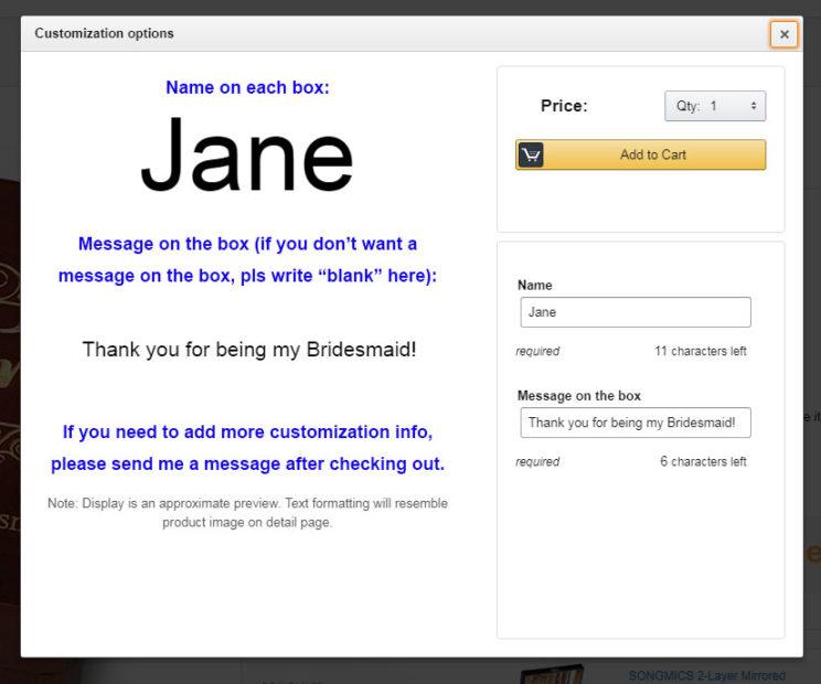 Amazon customization options for engraved box