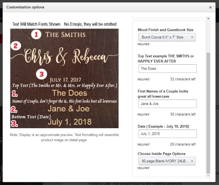 Amazon customization options for wooden Guestbook