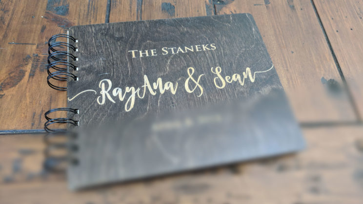 Customized wooden guestbook from Amazon