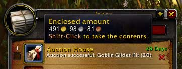 Enclosed amount from Auction House for Goblin Glider Kit