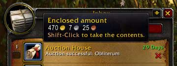 Enclosed amount from Auction House for Obliterum