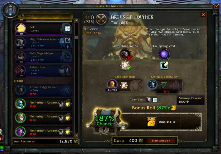 Earn gold from World of Warcraft mission table