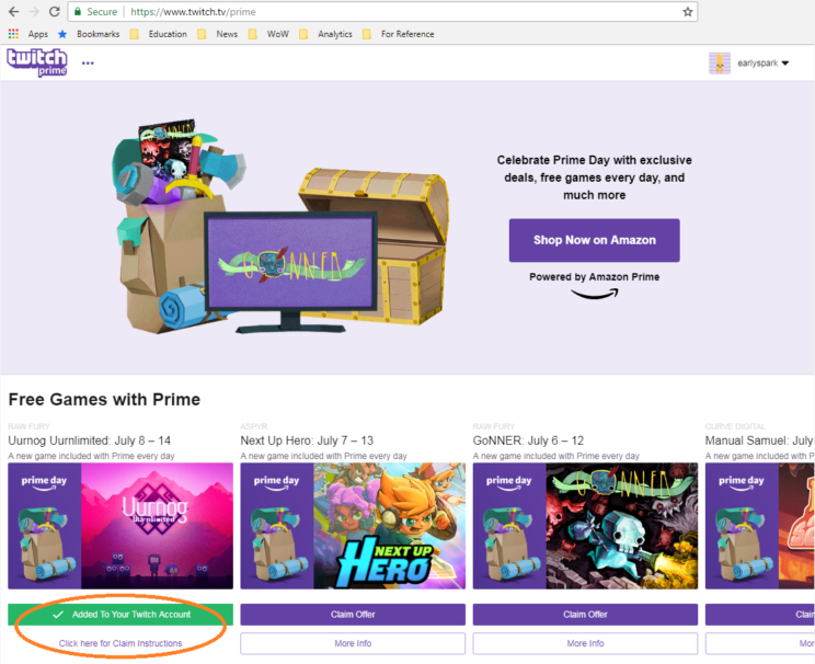 Free Games with Twitch Prime during Amazon Prime day