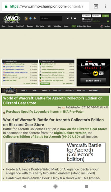 screenshot of mmo-champion.com from mobile