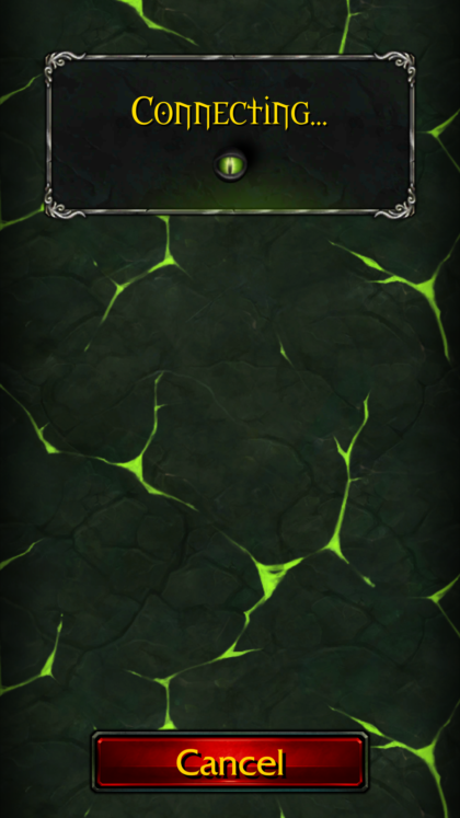 Connecting screen for World of Warcraft Legion mobile app